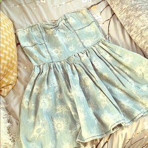 Cute floral strapless denim mini dress